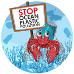 hermit crab holding no plastic sign illustration